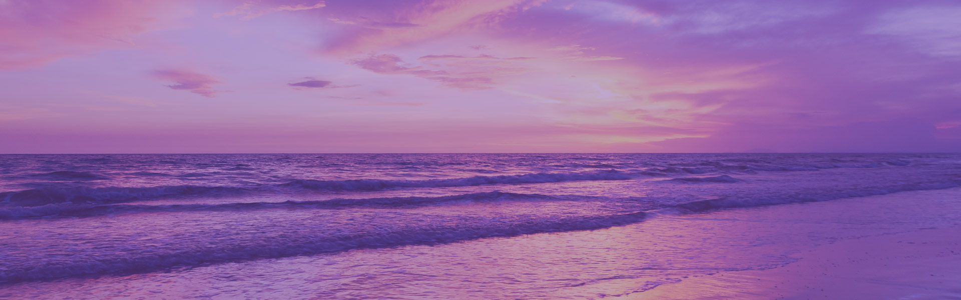 Purple sunset on shore of beach as dusk