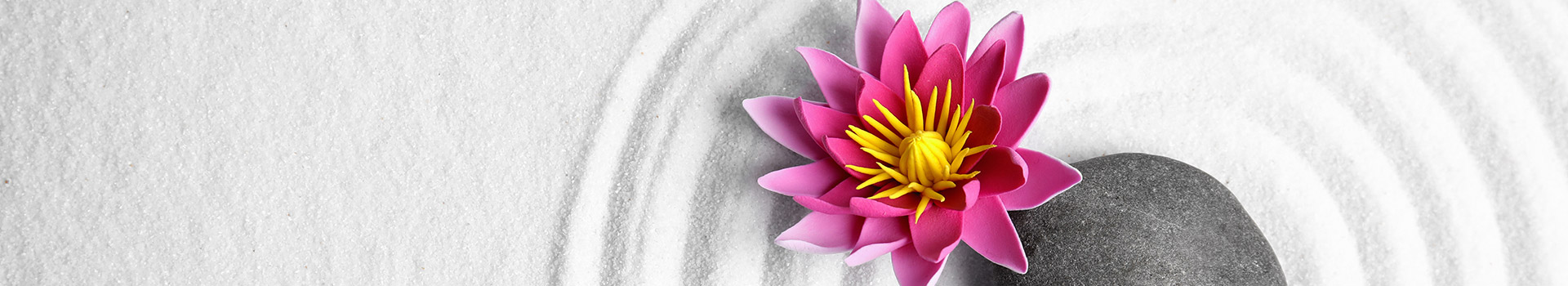 Lotus flower and smooth stone in white sand