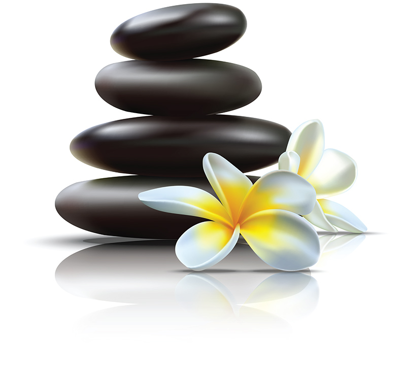 spa stones with lotus flower